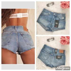 Levi's 501 high rise Button fly denim jeans shorts